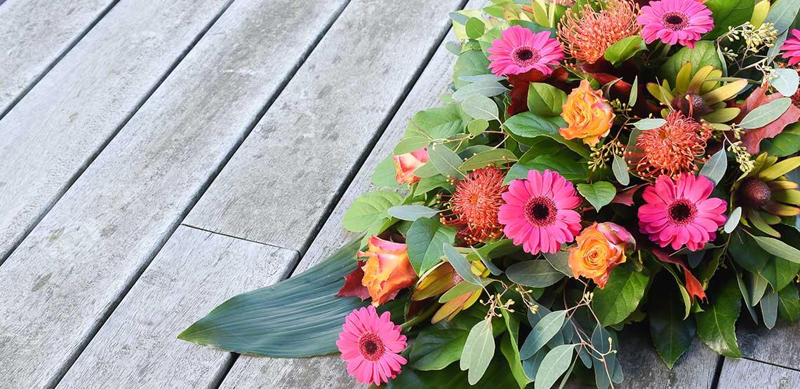 Flowers at a memorial